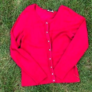 White house black market red snap up cardigan